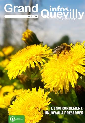 Couverture du Grand Quevilly infos d'avril 2019 avec une abeille qui butine une fleur