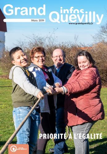 Couverture du Grand Quevilly infos de mars 2019 avec 4 personnes qui tiennent une corde