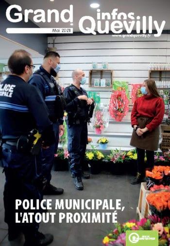 Photo représentant des agents de police municipale discutent avec une commercante sur la couverture de Grand Quevilly infos de mai 2021