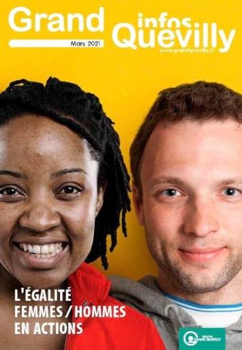Une femme et un homme sur la couverture du Grand Quevilly infos de mars 2021