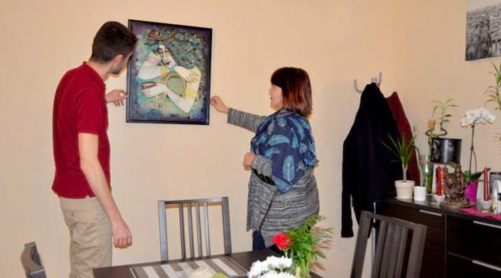 Une oeuvre d'art emprunté à l'arthothèque chez des quevillais