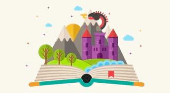Visuel d'un livre ouvert avec un conte qui s'en échappe
