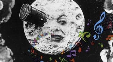 Lune imagée avec des notes de musique