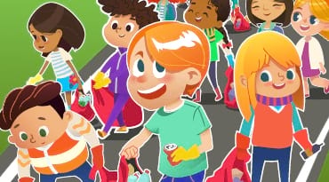 Un dessin d'enfants qui ramassent des déchets