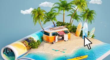 Visuel ateliers numériques sur le thème vacances et loisirs