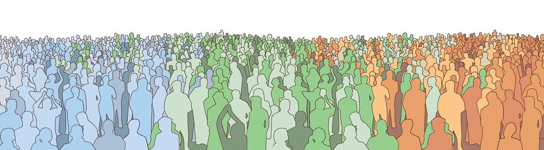 Des centaines de silhouettes de plusieurs couleurs