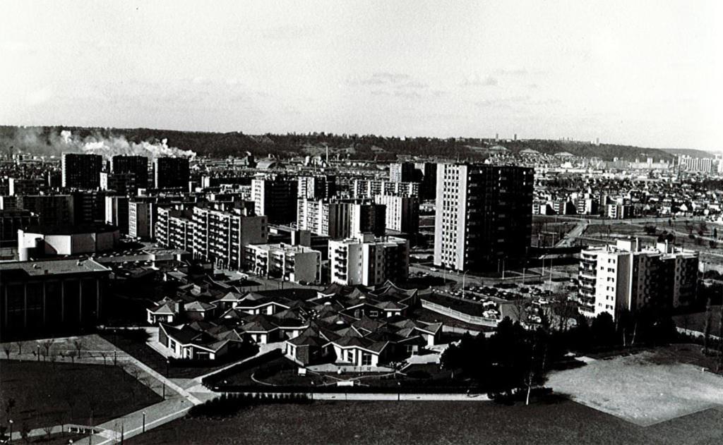 Vieille photo aérienne du centre ville