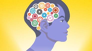 Un dessin d'une femme avec des engrenages à la place du cerveau