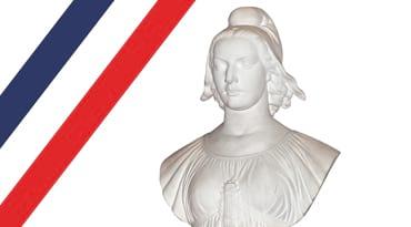 Un buste de Marianne et un bandeau tricolore
