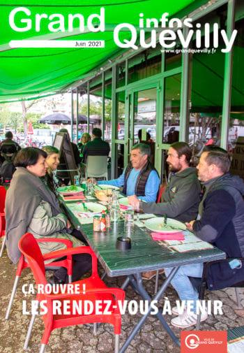 Couverture du Grand QUevilly infos de juin 2021 avec des gens en terrasse