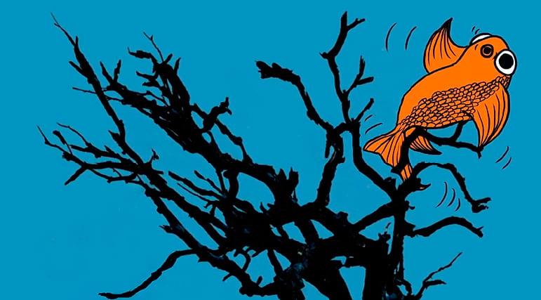 Un poisson dans un arbre